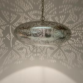 Filigrain hanglamp ufo vintage zilver