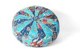 Poef blauw patchwork 100% katoen