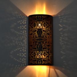 Oosterse wandlamp filigrain zwart