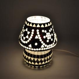 Oosters mozaïek tafellampje paddenstoel zwart-wit