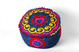 Oosterse ronde poef Amoort blauw - 25 cm.