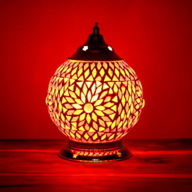 Mozaïek tafellamp 15 cm. - rood en oranje