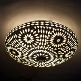 Plafondlamp mozaïek zwart wit - 38 cm. - Turks design.