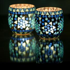 Waxinehouders mozaïek blauw. ( set prijs )