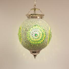 Hanglamp groen mozaïek en kralen - Turks design - 25 cm.