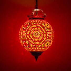 Hanglamp rood en oranje mozaïek - Turks design - 25 cm.