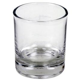 Helder glaasje voor theelichtje of votief kaarsje.