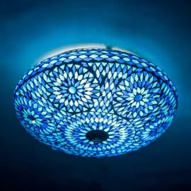 Plafondlamp mozaïek blauw - 38 cm. - Turks design