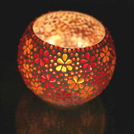 Waxinehouder mozaïek flower rood en oranje XL. - 15 cm.