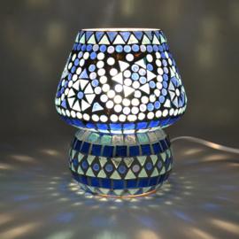 Mozaïek lampje paddenstoel blauw.