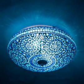 Plafondlamp mozaïek blauw - 38 cm.