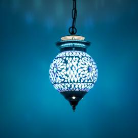 Oosterse hanglamp blauw mozaïek - 15 cm. - Turks design.