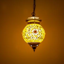 Oosterse hanglamp bruin beige mozaïek - 15 cm. - Turks design.