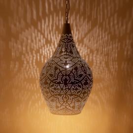 Oosterse filigrain hanglamp vaas wit-goud