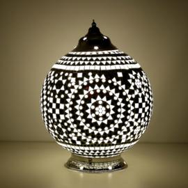 Mozaïek tafellamp 25 cm. - zwart wit