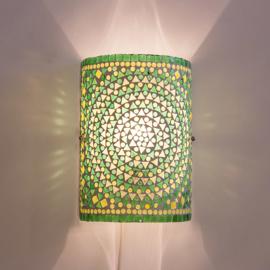 Oosterse mozaïek wandlamp   cilinder   groen