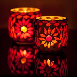 Waxinehouders Turks mozaïek rood en oranje. (set prijs)