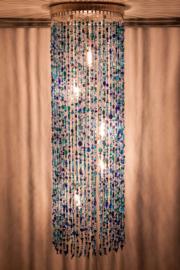 Hanglamp glaskralen blauw