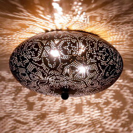 Plafondlamp filigrain  zwart-goud - 25 cm.