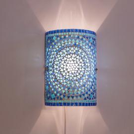 Oosterse mozaïek wandlamp cilinder - blauw