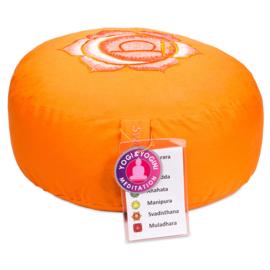 Meditatiekussen - poefje 2e Chakra oranje