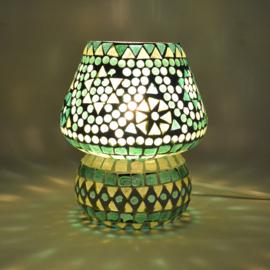 Oosters mozaïek tafellampje paddenstoel groen.
