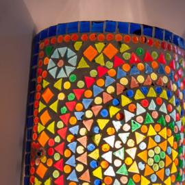 Oosterse mozaïek wandlamp | cilinder | multi color