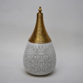 Oosterse filigrain tafellamp met draad - wit en goud