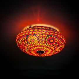 Plafondlamp mozaïek rood-oranje. Turks design - 25 cm.