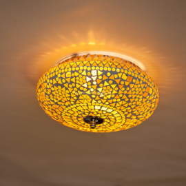 Plafondlamp mozaïek bruin-beige - 25 cm.