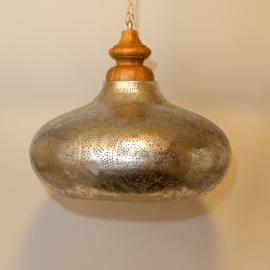 Oosterse eetkamertafel hanglamp filigrain zilver.