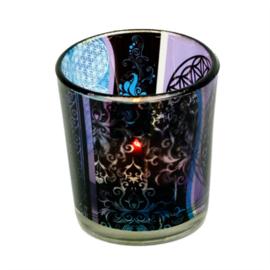 Waxinehouder glas - Bloem des Levens symbool.