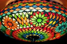 Plafondlamp mozaïek  multi color 25 cm. Turks
