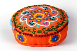 Oosterse ronde poef Amoort oranje - 15 cm.