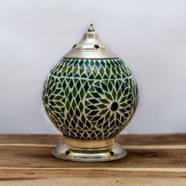 Mozaïek tafellamp groen - 15 cm.