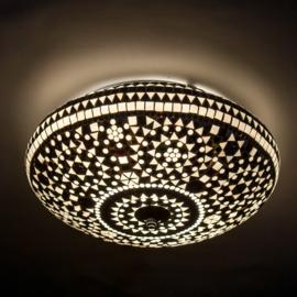 Plafondlamp mozaïek zwart wit - 38 cm.