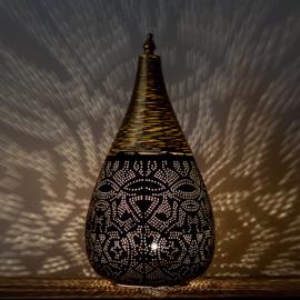 Oosterse filigrain tafellamp met draad - zwart en goud