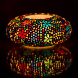 Waxinehouder ufo multi color met bloemmotief.