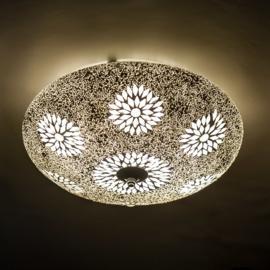 Plafondlamp mozaïek en glaskralen - 38 cm. - transparant