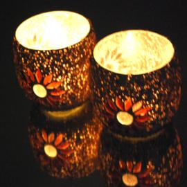Waxinehouder paars mozaiek en kralen. ( set prijs )