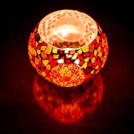 Waxinehouder mozaïek triangels en kralen rood en oranje XL. - 15 cm.