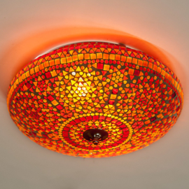 Plafondlamp mozaïek rood-oranje - 38 cm.
