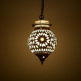 Oosterse hanglamp zwart wit mozaïek - 15 cm. - Turks design.