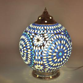 Mozaïek tafellamp 25 cm. - blauw - Turks