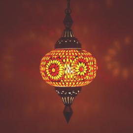 Oosterse mozaïek hanglamp pumpkin rood - oranje
