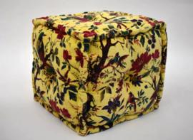 Oosters poef Pakshiyon - 40x40 cm. geel
