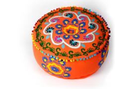 Oosterse ronde poef Amoort oranje - 25 cm.