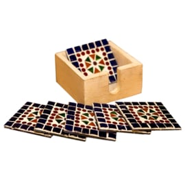 Onderzetters multi-color blauw mozaïek in houten box.