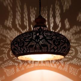 Oosterse eetkamertafel hanglamp filigrain zwart