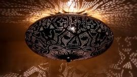 Plafondlamp filigrain zwart - 38 cm.